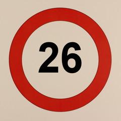 Grafische Darstellung des Straßenverkehrszeichen Maximalgeschwindigkeit 26 km/h