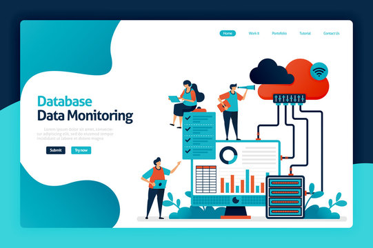 Database data monitoring landing page design. maintain user data security and protection. analysis and statistics of user behavior chart. vector illustration for poster, website, flyer, mobile app