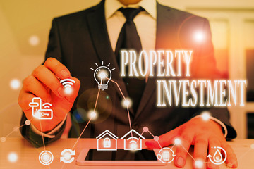 Text sign showing Property Investment. Business photo showcasing Asset purchased and held primarily for its future income