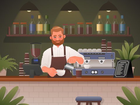 Barista makes coffee in a cafe shop. Vector illustration in cartoon style