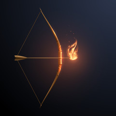 Gold bow and arrow with flame
