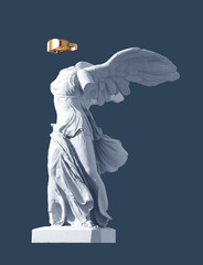 3D Model Of Winged Victory And Golden VR Glasses On Blue Background. Concept Of Art And Virtual Reality.