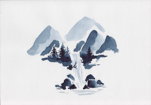 Stock watercolor waterfall illustration. Isolated mountains scenery with waterfall and pine trees. Can be used as isolated element or as background drawing for relaxation, meditation & restoration.