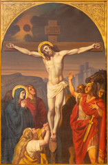 Fototapete - PRAGUE, CZECH REPUBLIC - OCTOBER 15, 2018: The painting of Crucifixion in church Bazilika svatého Petra a Pavla na Vyšehrade by František Čermák (1822 - 1884).