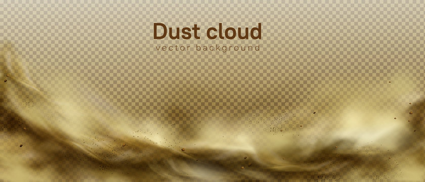 Desert sandstorm, brown dusty cloud or dry sand flying with gust of wind, big explosion realistic texture with small particles or grains vector frame, border isolated on transparent background