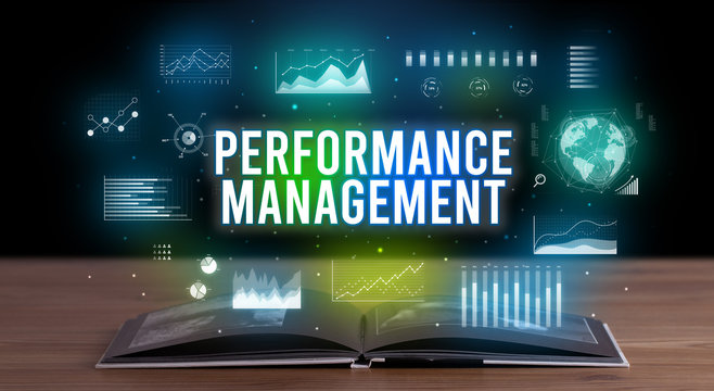 PERFORMANCE MANAGEMENT inscription coming out from an open book, creative business concept