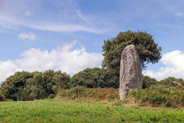 Menhir of Kergornec - megalithic monument in Brittany, France