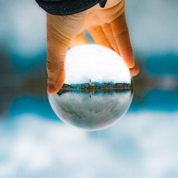 Lake Bled Slovenia Hand Holding Lens Ball European Alps Alpine Christian Church
