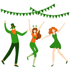 Saint Patrick 's Day. Template with funny dancing people in festive costumes.