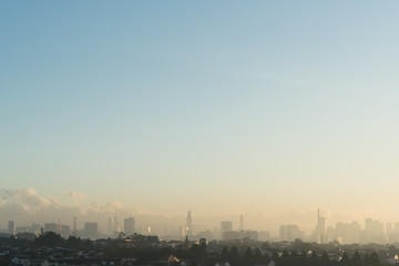 Photo Stands Kuala Lumpur Far view of Kuala Lumpur city skyline in hazy and misty morning