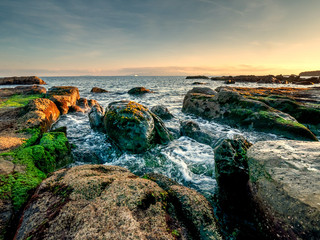 Foto auf Leinwand Fantasie-Landschaft rocks at the coast of the straight of Gibraltar near Algeciras, Spain