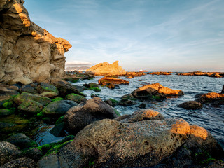 Foto auf Leinwand Fantasie-Landschaft Dangerous rocks at the coast of the straight of Gibraltar near Algeciras, Spain