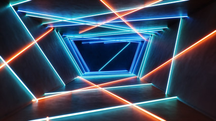 Abstract blue and red interior with neon light. Fluorescent lamp. Futuristic architecture background. 3d illustration of neon lamps that illuminate interior space. Mock-up for your design project