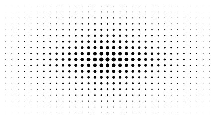 Wall Mural - Halftone gradient texture isolated on white background. Comic dotted pattern using halftone circle dot raster texture. Pop art retro style. Vector blot half tone.