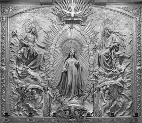 ZARAGOZA, SPAIN - MARCH 3, 2018: The polychome carved relief of Coronation of Virgin Mary in church Basílica de Santa Engracia from, 19. cent.