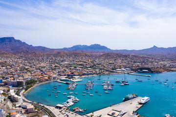 Aerial view of Mindelo Marina in Sao Vicente Island in Cape Verde Fototapete