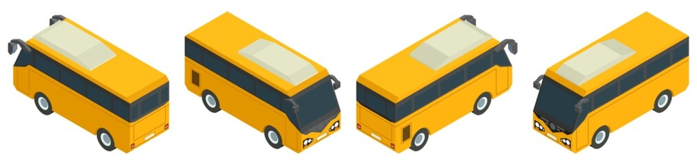 isometric yellow minibus collection of public transport