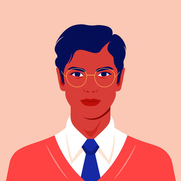 Portrait of a happy man. Avatar of a guy for social network. Colorful portrait. Student of the university. Vector flat illustration