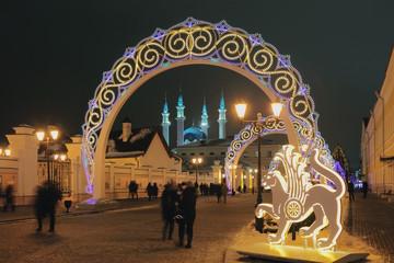 City Street New Year's Eve. Kazan, Russia