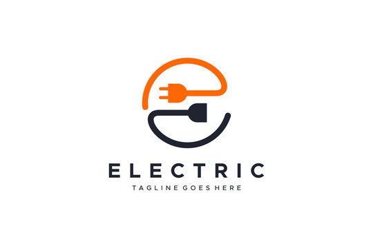 Abstract Letter E Electricity Logo. Flat Vector Logo Design Template Element