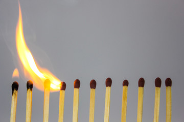 chain reaction of matches lighting on fire