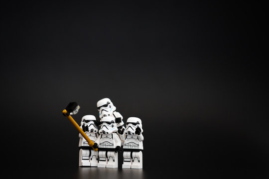 Orvieto, Italy - November 15th 2015: Star Wars Lego Stormtroopers minifigures take a selfie. Lego is a popular line of construction toys manufactured by the Lego Group