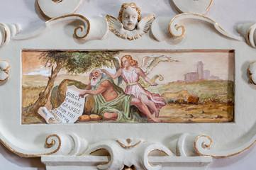 TAORMINA, ITALY - APRIL 9, 2018: The fresco of prophet Elijah church Chiesa di San Guseppe.