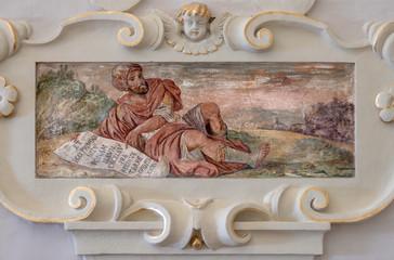 TAORMINA, ITALY - APRIL 9, 2018: The fresco of prophet church Chiesa di San Guseppe.
