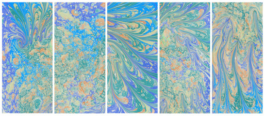 Art Abstract paint color blots background. Ebru Marble paper tex