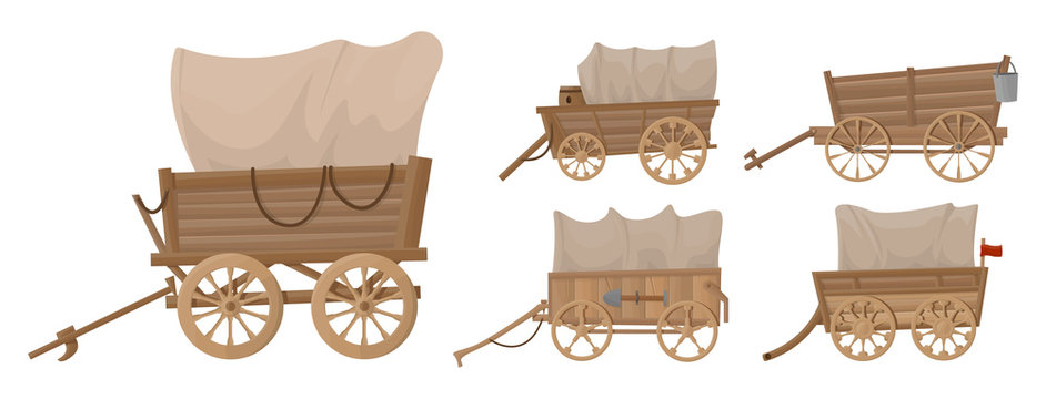 Wild west wagon vector cartoon set icon.Vector illustration set western of old carriage on white background .Isolated cartoon icon wild west wagon.