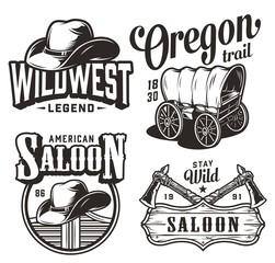 Obraz Vintage wild west emblems set - fototapety do salonu