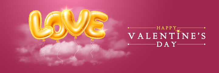 Happy Valentines Day Greeting Banner With Golden Balloons Letters LOVE