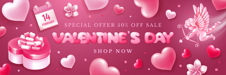 Valentines Day Sale Banner With Cupid And Hearts