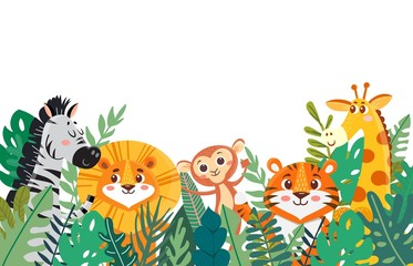 Obraz Wild jungle animals in tropical leaves. Leaves border with tiger and lion, zebra and giraffe, monkey. Cartoon vector illustration. Banner - fototapety do salonu
