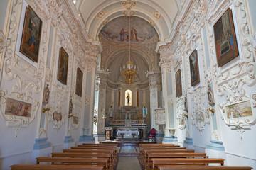 TAORMINA, ITALY - APRIL 9, 2018: The nave of church Chiesa di San Giuseppe.