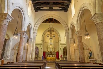 TAORMINA, ITALY - APRIL 9, 2018: The nave of Dom - Duomo (San Pancrazio).