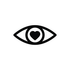 eye icon, eye with heart icon, love symbol
