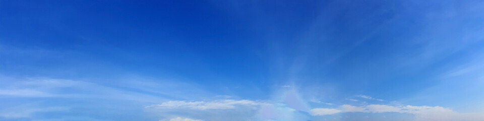 Papiers peints Bleu fonce Panorama sky with cloud on a sunny day. Beautiful cirrus cloud. Panoramic image.