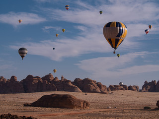 Garden Poster Brown Winter at Tantora Hot Air Balloon Festival over Mada'in Saleh (Hegra) ancient site, Al Ula, Saudi Arabia