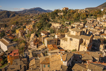 Scenic view of rooftops of Subiaco, Italy