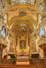 PARMA, ITALY - APRIL 16, 2018: The presbytery of baroque church Chiesa di San Vitale.