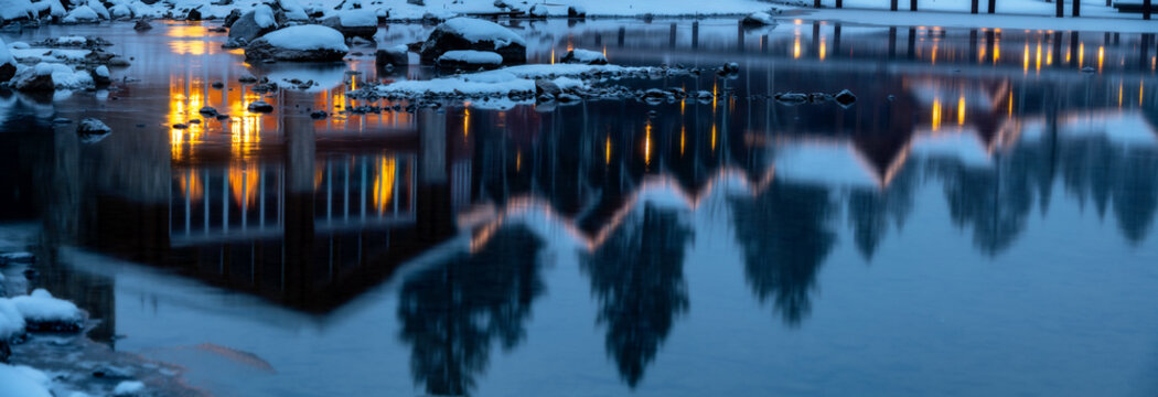 Reflection of the Shore Lodge in McCall Idaho Payette Lake