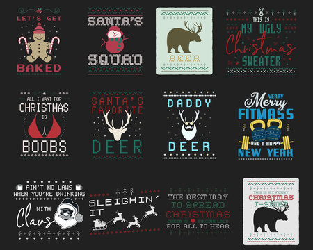 Funny Christmas graphic prints set, t shirt designs for ugly sweater xmas party. Holiday decor with xmas tree, santa, gingerbread, bear other elements and ornaments. Fun typography. Stock vector
