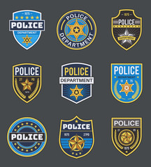 Police labels. Policeman law enforcement badges. Sheriff, marshal and ranger logo, police star medallions, security federal agent vector insignia