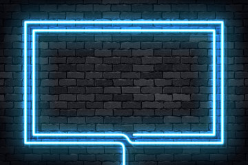Vector realistic isolated neon sign of blue rectangle frame for template and layout on the wall background. Fotomurales