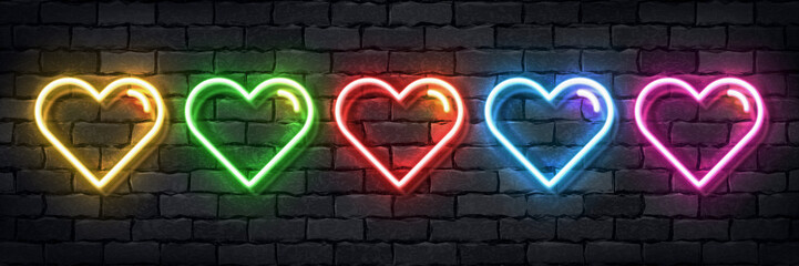 Vector set of realistic isolated neon sign of colorful hearts for template decoration and layout covering on the wall background. Concept of Happy Valentines Day.