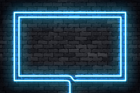 Vector realistic isolated neon sign of blue rectangle frame for template and layout on the wall background.