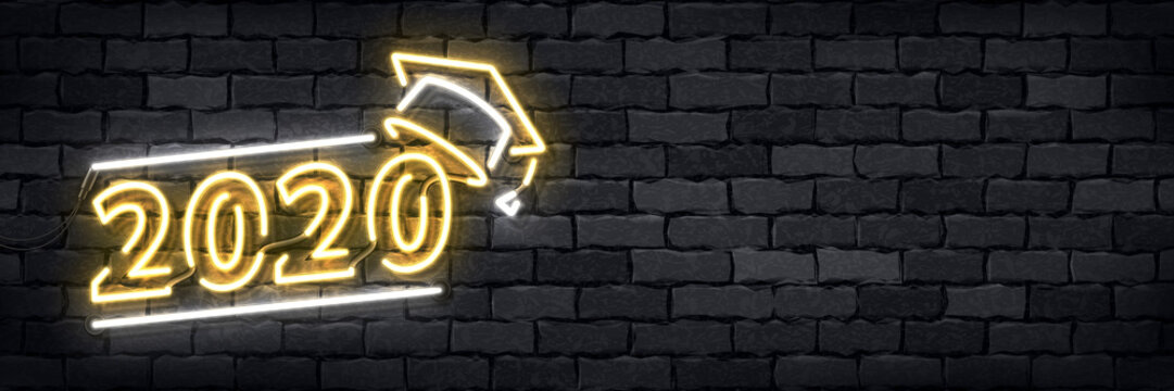 Vector of realistic isolated neon sign of Graduation 2020 flyer logo for template decoration and layout covering on the wall background.