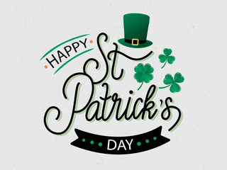Vector hand drawn St. Patrick's Day logotype. Lettering typography with leprechaun's hat, shamrocks and design elements. Festive illustration for poster, flyer, party invitation, tee, badge, icon Wall mural