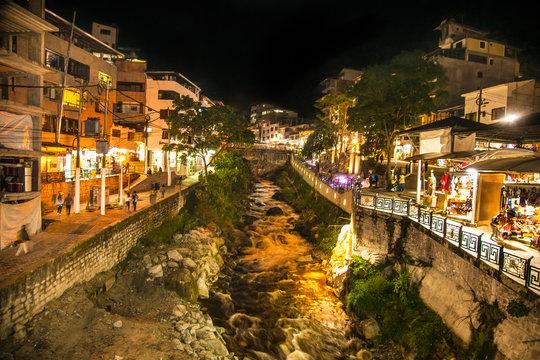 Urubamba River at night on  Machu Picchu Pueblo or Aguas Calientes town, Peru.